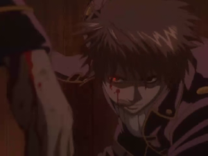 Okita smiles and licked off the blood on his cheek.