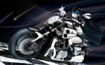 Konachan.com - 49116 black_hair black_rock_shooter blue_eyes driving long_hair motorbike motorcycle night shorts twintails vocaloid