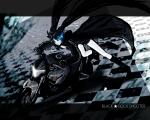 Konachan.com - 49120 bikini_top black_hair black_rock_shooter blue_eyes boots cape kuroikisi long_hair motorbike motorcycle twintails vocaloid