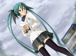 Konachan.com - 49890 hatsune_miku koikeya ribbons skirt snow thighhighs vocaloid