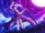 Konachan.com - 56050 long_hair moon purple_hair sword touhou watatsuki_no_yorihime