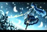 Konachan.com - 56154 blue_hair hat hinanawi_tenshi long_hair night sky sword touhou