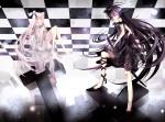 Konachan.com - 55074 black_hair black_rock_shooter dress hat hatsune_miku long_hair sword vocaloid white_hair