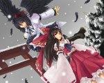 Konachan.com - 56555 hakurei_reimu japanese_clothes long_hair miko red_eyes ribbons shameimaru_aya short_hair skirt snow touhou wings