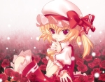 Konachan.com - 58307 blonde_hair dada_sky fang flandre_scarlet flower lucie red_eyes short_hair touhou