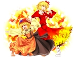 Konachan.com - 58588 aki_minoriko aki_shizuha blonde_hair dress fruit short_hair touhou