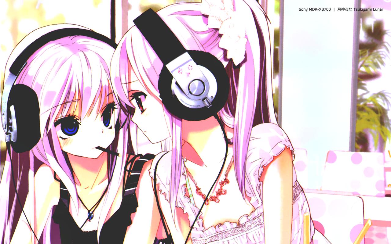 headphone girls; doodles makes me smile Pinterest