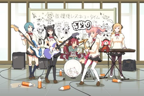 moe 180479 akemi_homura guitar hy136 k-on! kaname_madoka kyuubee miki_sayaka pantyhose parody sakura_kyouko seifuku thighhighs tomoe_mami