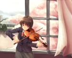 Konachan.com - 74940 brown_hair instrument seifuku violin