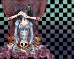 Konachan.com - 75019 alice_caroll black_hair butterfly dress flowers gray_eyes long_hair mask ribbons twintails x-down