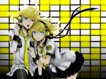 Konachan.com - 77338 bicolored_eyes blonde_hair headphones kagamine_len kagamine_rin seifuku vocaloid wool