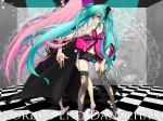 Konachan.com - 77441 blue_hair hatsune_miku megurine_luka pink_hair shorts thighhighs twintails vocaloid
