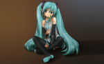 Konachan.com - 77773 aqua_hair green_eyes hatsune_miku headphones rustle skirt thighhighs twintails vocaloid