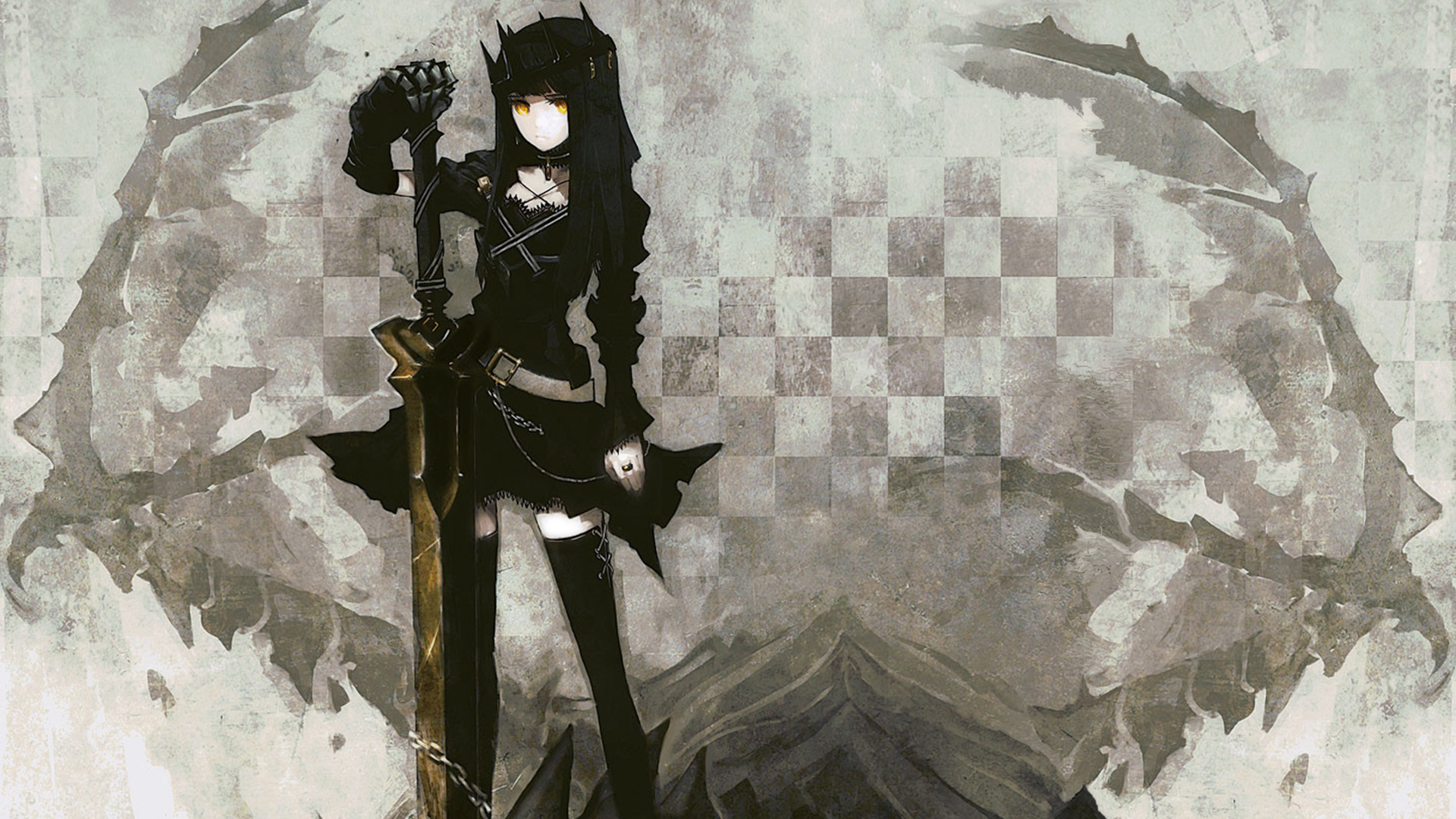 100 Wallpapers de anime HD Konachan-com-77816-black_rock_shooter-dragon_slayer-sword-weapon-yellow_eyes