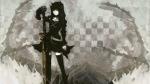 Konachan.com - 77816 black_rock_shooter dragon_slayer sword weapon yellow_eyes