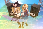 Konachan.com - 79123 2girls alice_margatroid blonde_hair blue_eyes guitar headphones kirisame_marisa long_hair short_hair touhou witch yellow_eyes