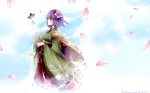 Konachan.com - 79198 butterfly flowers hieda_no_akyu japanese_clothes kimono petals purple_eyes purple_hair short_hair touhou