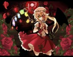 Konachan.com - 79633 bicolored_eyes blonde_hair cross flandre_scarlet flowers red_eyes rose short_hair skirt touhou wings yellow_eyes