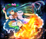 Konachan.com - 79939 blue_hair boots dress hat hinanawi_tenshi red_eyes touhou
