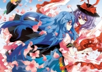 Konachan.com - 80339 blue_hair bow dress flowers hinanawi_tenshi long_hair nagae_iku petals pink_eyes purple_hair red_eyes tears touhou