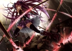 Konachan.com - 96824 boots chain futakabe long_hair mahou_shoujo_madoka_magica ponytail purple_hair red_eyes sakura_kyouko skirt thighhighs weapon zettai_ryouiki