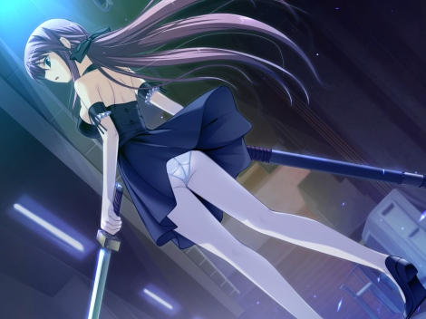 Konachan.com - 96956 dress game_cg long_hair panties rei_(character) soushinjutsu_rei sword underwear weapon