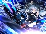 Konachan.com - 97049 bloody_rondo blue_eyes game_cg gray_hair long_hair lynette_vance makita_maki skirt weapon
