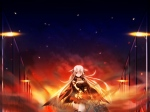Konachan.com - 97050 bloody_rondo game_cg gray_hair long_hair lynette_vance makita_maki skirt weapon