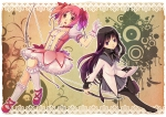 Konachan.com - 97117 akemi_homura black_hair bow dress gloves kaname_madoka pantyhose pink_eyes pink_hair purple_eyes short_hair twintails weapon youhe