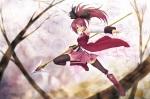 Konachan.com - 97604 boots bow kazuma_muramasa long_hair mahou_shoujo_madoka_magica ponytail red_hair sakura_kyouko staff thighhighs tree weapon