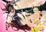 Konachan.com - 97638 aqua_eyes black_hair flowers gloves kamui_gakuko katana leaves long_hair sword vocaloid weapon