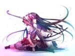 Konachan.com - 97897 2girls akemi_homura black_hair kaname_madoka kariya_(mizore) long_hair pantyhose pink_eyes pink_hair short_hair twintails weapon