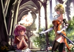 Konachan.com - 97913 blonde_hair blue_eyes izayoi_sakuya miyazaki_byou red_eyes remilia_scarlet sword thighhighs touhou weapon wings
