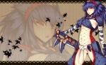 Konachan.com - 98526 blue_hair dean monster_hunter naruga_kuruga red_eyes weapon zoom_layer