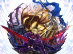 Konachan.com - 98667 armor blonde_hair blue_eyes cape dragon fate_stay_night panties ribbons saber saber_alter short_hair sword todee underwear weapon yellow_eyes