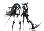 Konachan.com - 100929 black_hair black_rock_shooter blue_eyes boots bra dress green_eyes horns kuroi_mato scythe shorts sword takanashi_yomi twintails underwear weapon