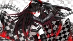 Konachan.com - 106637 armor black_gold_saw black_rock_shooter eshi horns long_hair red_eyes sword thighhighs weapon