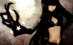 Konachan.com - 106676 bikini_top black_gold_saw black_hair black_rock_shooter gloves huke long_hair red_eyes