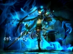 Konachan.com - 71642 black_hair black_rock_shooter black_rock_shooter_(character) blue_eyes long_hair shiroganeusagi shorts sword thighhighs twintails weapon
