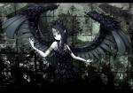 Konachan.com - 75399 aqua_eyes black_hair wings