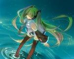Konachan.com - 79174 green_hair hatsune_miku headphones long_hair skirt thighhighs tie twintails vocaloid water