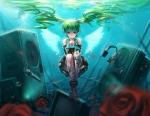 Konachan.com - 79814 blue_eyes green_hair hatsune_miku headphones twintails underwater vocaloid