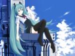 Konachan.com - 80008 aqua_hair blue_eyes clouds hatsune_miku long_hair seifuku skirt sky thighhighs twintails vocaloid zettai_ryouiki