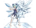 Konachan.com - 80461 barefoot blue_hair bow cirno dress fang green_hair ribbons short_hair touhou wings