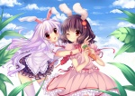 Konachan.com - 80743 animal_ears bunny_ears bunnygirl clouds dress duji_amo inaba_tewi long_hair purple_hair reisen_udongein_inaba ribbons short_hair sky touhou