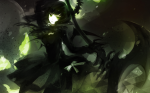 Konachan.com - 80916 black_hair black_rock_shooter dress green_eyes long_hair ribbons scythe takanashi_yomi weapon