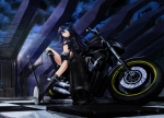 Konachan.com - 84186 black_rock_shooter gun kuroi_mato motorcycle sword ushas weapon