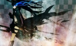 Konachan.com - 86081 black_hair black_rock_shooter blue_eyes boots chain kuroi_mato sword twintails weapon