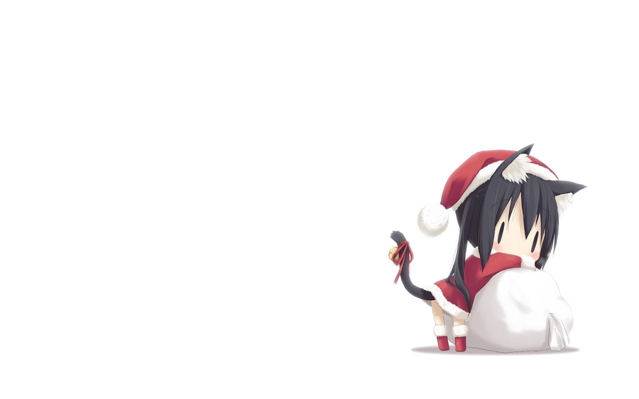 Anime Cat Girl With Santa Hat