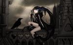 Konachan.com - 98092 animal bird black_hair black_rock_shooter blue_eyes boots dark huke kuroi_mato long_hair vector